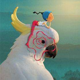 illustration,Timéliot est sur la tête d'un cacatoès et regarde le coucher de soleil