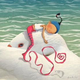 illustration,Timeliot dort sur la tête d'une oie