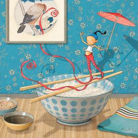 illustration,timeliot sur bol de riz