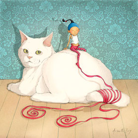 illustration,Timeliot assis sur un chat blanc
