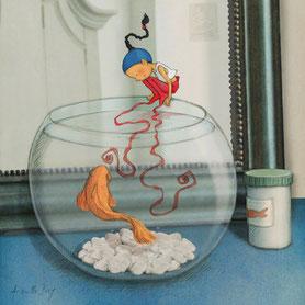 illustration,Timeliot joue avec un poisson rouge dans son bocal