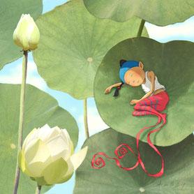illustration, Timeliot sur une feuille de lotus
