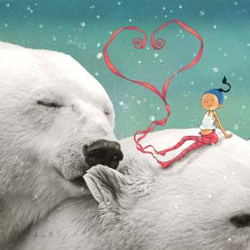 Timeliot forme un coeur avec ses rubans, assis sur la tête d'un ours blanc