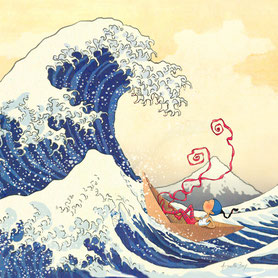 Timeliot navigue sur la grande vague d'Hokusai