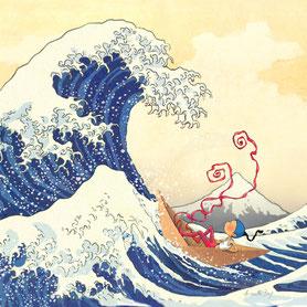 Timeliot navigue sur la grande vague d'Hokusai