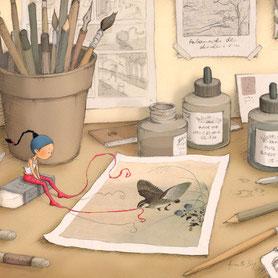 illustration,Un oiseau dans un dessin attrappe un ruban de Timeliot