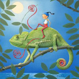 timeliot sur le dos d'un caméléon. Site de timeliot.eu