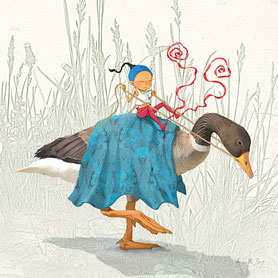 illustration,Timeliot à cheval sur un canard