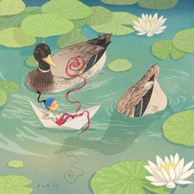 illustration,Timeliot dans un bateau en papier et 2 canards