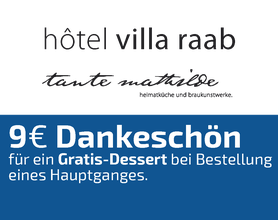 9 EURO Dankeschön-Gutschein, Hotel Villa Raab, Alsfeld