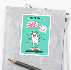 Trampolin Schwein STICKER - HAPPY BIRTHDAY - Text und Illustration Judith Ganter Hamburg Germany - erhältlich bei Redbubble