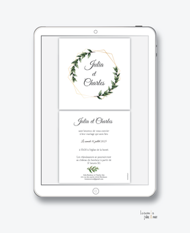 faire-part mariage numérique-faire part mariage digital-faire part numérique-pdf numérique-faire part mariage electronique -faire-part à envoyer par mms-par mail-réseaux sociaux-whatsapp-facebook-messenger-couronne de feuille de laurier-doré-