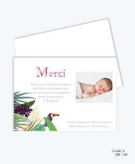 carte de remerciement naissance fille moulin à vent-tropical toucan- jungle