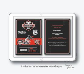 Invitation anniversaire homme numérique-Invitation électronique-Invitation numérique-imprimable-pdf numérique-Invitation connecté-Invitation anniversaire à envoyer par mms-par mail-réseaux sociaux-whatsapp-facebook-moto-Harley davidson
