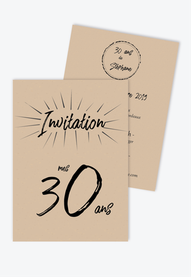 invitation anniversaire homme kraft-simple-sobre