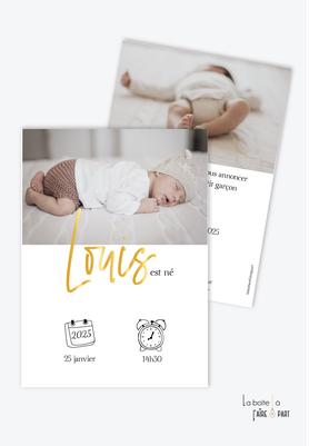 faire part naissance garçon-format rectangle-pictogrammes-avec photo-prénom doré