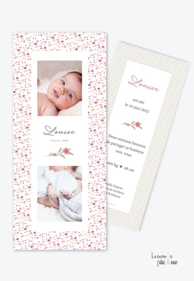 faire part naissance fille-motif liberty-fleurs-champêtre-rayure-multiphoto-format marque page-