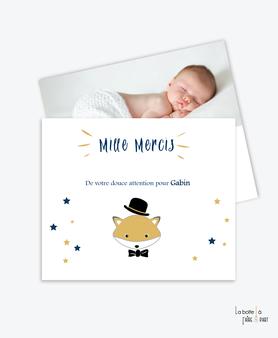 carte remerciement naissance garçon renard avec chapeau et noeud papillon