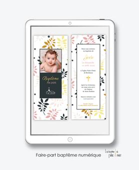 faire-part baptême numérique-faire part baptême digital -faire part numérique-pdf imprimable-pdf numérique-faire part connecté-religieux-feuilles et croix-faire part à imprimer soi-même-faire-part à envoyer par sms ou mms-faire-part à envoyer par mail