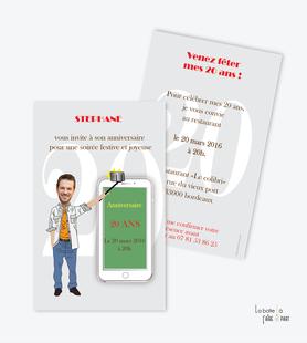 invitation anniversaire homme slefie-photo-smartphone-telephone