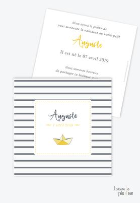 faire part naissance garçon bateau marin origami-couleur gris et jaune-sans photo-format carré-rayure gris foncé gris clair