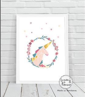Affiche fille licorne origami- Fleurs-marguerite-étoile-licorne couronne-origami-déco chambre-affiche déco-poster- chambre de bébé-poster de chambre-déco chambre de bébé-affiche de naissance-affiche cadeau-cadeau de naissance- affiche naissance