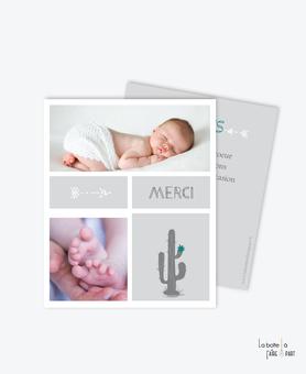 carte remerciement naissance garçon cactus gris et fleur verte 2 photos