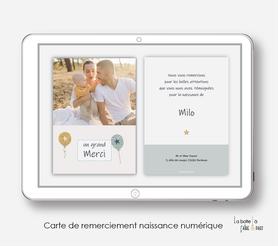 carte de remerciements naissance garçon numérique-petits ballons-Etoiles- carte de remerciement digital-pdf imprimable-pdf numérique-faire part connecté-    -à imprimer-carte de remerciement naissance à envoyer par mail