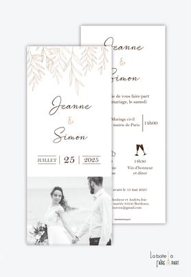 Faire-part mariage-format marque page- pictogrammes-photo noir et blanc-tiges de feuilles-chic-elegant-rafiné