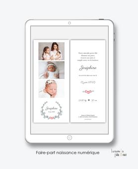 faire-part naissance numérique-faire part électronique-faire part numérique-imprimable-pdf numérique-faire part connecté-faire-part à envoyer par sms-mms-par mail-réseaux sociaux-whatsapp-facebook-couronne chic-roses-bouquet-marque page-3 photos-
