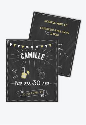 invitation anniversaire femme ardoise fiesta-ananas-cocktail