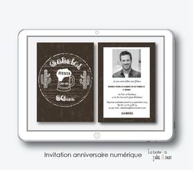 Invitation anniversaire homme numérique-Invitation électronique-Invitation numérique-imprimable-pdf numérique-Invitation connecté-Invitation anniversaire à envoyer par mms-par mail-réseaux sociaux-whatsapp-facebook-chope de biere-cactus-tendance