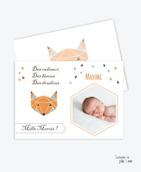 carte remerciement naissance garçon renard origami avec photo