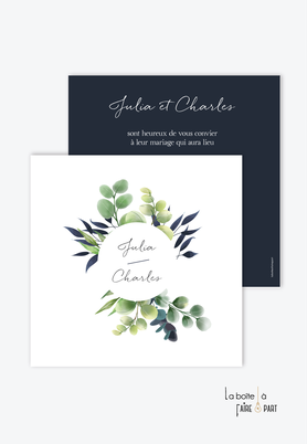 Faire-part mariage-eucalyptus - végétal-format carré- bleu marinerond