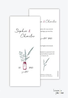 Faire-part mariage-format marque page-vase avec bouquet de végétal- minimaliste -simplicime-