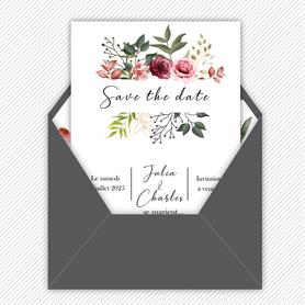 Save the date mariage gif animé- Save the date mariage virtuel-Save the date mariage digital-Save the date mariage numérique animé-électronique-à envoyer via les réseaux sociaux-whatsapp-facebook-messenger-mms--pivoines-fleurs-eucalyptus-rose-