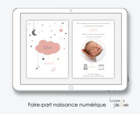 faire-part naissance fille numérique-faire-part naissance fille électronique-fichier pdf - nuage rose -à imprimer soi même-à envoyer par mail -à envoyer par mms-sms-réseaux sociaux-pictogramme
