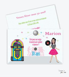 invitation anniversaire femme jukebox-disco-musique-boule à facette