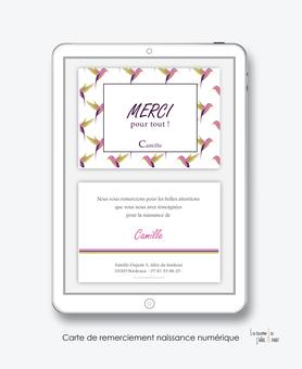 carte de remerciement naissance fille colibris rose oiseau-tropical-motif-carte de remerciement digital à envoyer par mail, mms et réseau sociaux