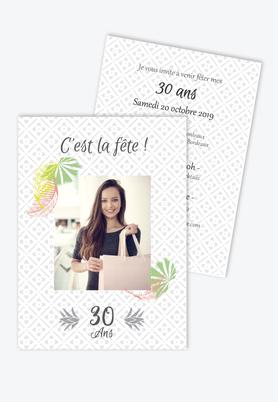 invitation anniversaire femme tropical fiesta-palmier