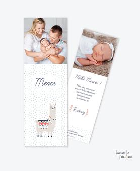 carte de remerciements naissance fille tendance et pas cher-cactus rose-fleur bleu canard-format marque page