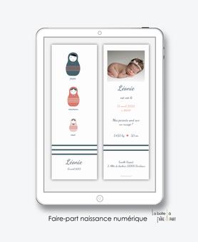 faire-part naissance numérique-faire part électronique-faire part numérique-imprimable-pdf numérique-faire part connecté-poupées russes-faire part à imprimer soi-même-faire-part à envoyer par sms-mms-par mail-réseaux sociaux-whatsapp-facebook-marin