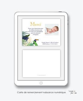 Carte de remerciements naissance garçon numérique-carte de remerciements garçon électronique-fichier Pdf-tropical toucan-tropical-palmier-jungle-à imprimer soi même-A envoyer via les réseaux sociaux whatsapp-messenger-facebook-mms et mail