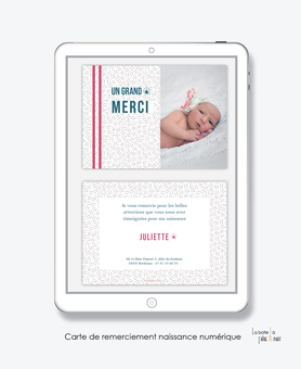 carte de remerciements naissance fille numérique- carte de remerciement électronique -pdf imprimable-pdf numérique-faire part connecté-petits traits-à imprimer soi-même-carte de remerciement naissance à envoyer par mail