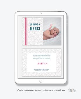 carte de remerciements naissance fille numérique- carte de remerciement digital-pdf imprimable-pdf numérique-faire part connecté-petits traits-à imprimer soi-même-carte de remerciement à envoyer par mail et réseaux sociaux