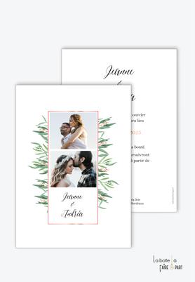 Faire-part mariage-champêtre-bohème-végétal-cadre rose doré-photo polaroid-eucalyptus