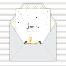 faire-part naissance fille numérique-faire-part naissance fille digital-fichier pdf -panda plume dorée-noeud papillon-à imprimer-à envoyer par mail -à envoyer par mms-sms-réseaux sociaux