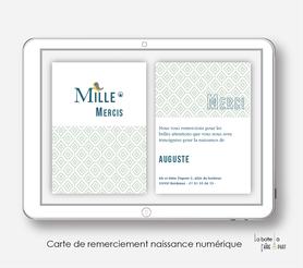 carte de remerciements naissance numérique-carte de remerciement électronique -pdf imprimable-pdf numérique-faire part connecté- monogramme petit oiseau-à imprimer soi-même-carte de remerciement naissance à envoyer par mail