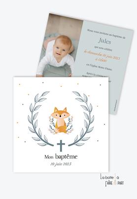 faire part baptême garçon format carré- renard -animal-couronne d'épi de blé-croix -religieux-eglise-photo-