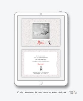 Carte de remerciements naissance fille numérique-carte de remerciements fille électronique digital-fichier Pdf-attrape reves  à pois-plume -à imprimer soi même-carte de remerciement à envoyer par mail, mms et réseau sociaux